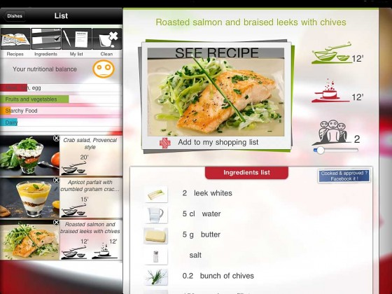 Cookineo App Menü