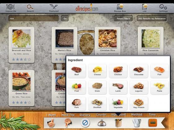 all recipes App Auswahl