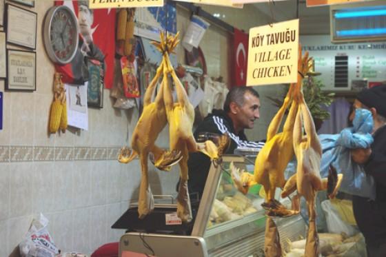 Hühner auf dem Fischmarkt
