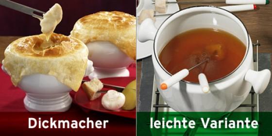 Käsefondue und Fondue mit Brühe