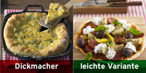 Käsepizza und Tortilla-Pizza