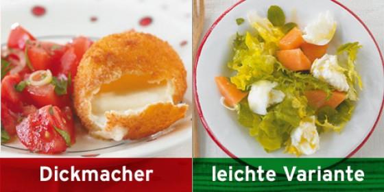 Gebackener Mozzarella, Salat mit Mozzarella