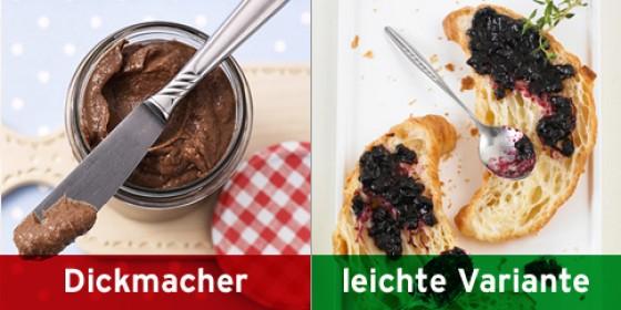 Schoko-Creme, Heidelbeer-Honig-Konfitüre