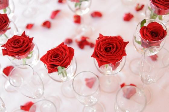 Tischdeko Valentinstag mit Rosen