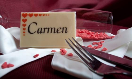 Tischkarte aus Schokolade