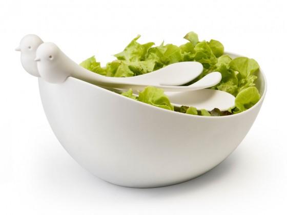 Salatschüssel mit Vögeln