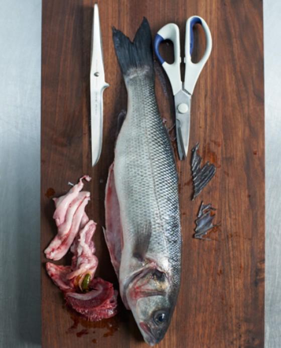 Flossen, Kiemen und Innereien vom Fisch entfernen