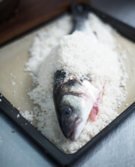 Salzmischung mit dem Fisch auf ein Backblech geben