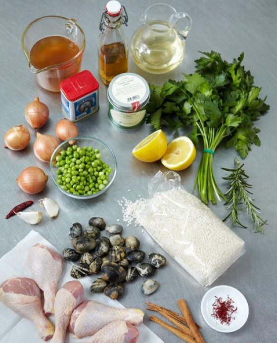 Grundzutaten für Paella