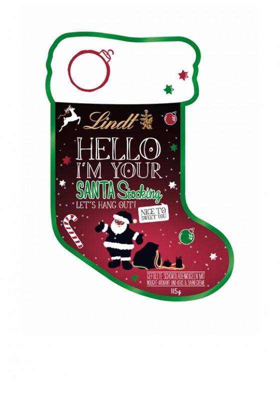 """""""Hello Santa Stocking""""-Türanhänger von Lindt"""