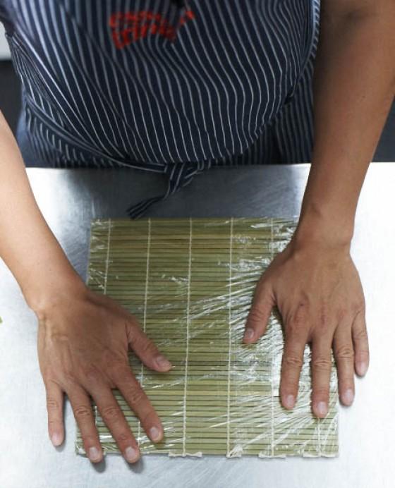 Bambusmatte vorbereiten