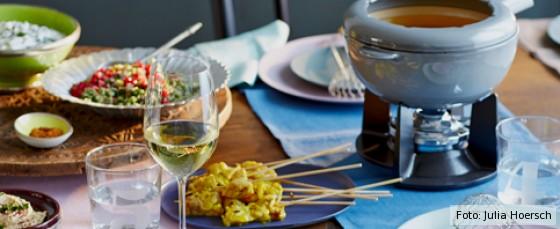 gedeckter Tisch für Fondue orientalisch, Fondue orientalisch, Fondue mal anders, Fondue Rezept, Fondue-Rezepte