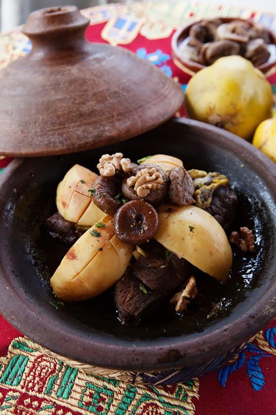 Marrakesch Rindfleisch-Tajine mit Quitten, Walnüssen und Feigen