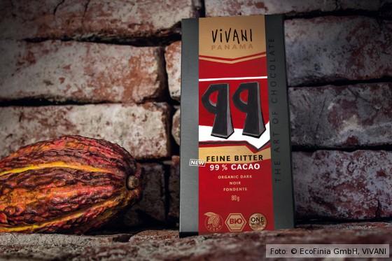 VIVANI Bitterschokolade 99 Prozent