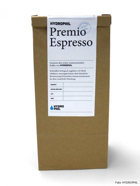 Wasserneutraler Kaffee in Verpackung von HYDROPHIL
