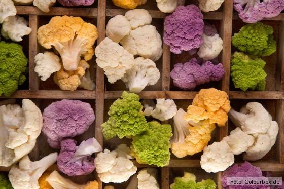 Wundervolle Farben: Blumenkohl gibt es nicht nur in weiß, sondern auch in violett und grün