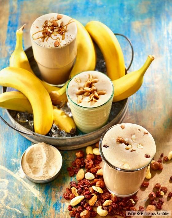Drei gesunde, vegane Milchshakes mit Banane von Attila Hildmann