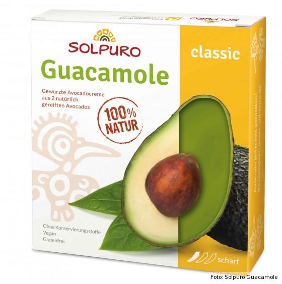 servierfertige Guacamole von Solpuro in Verpackung