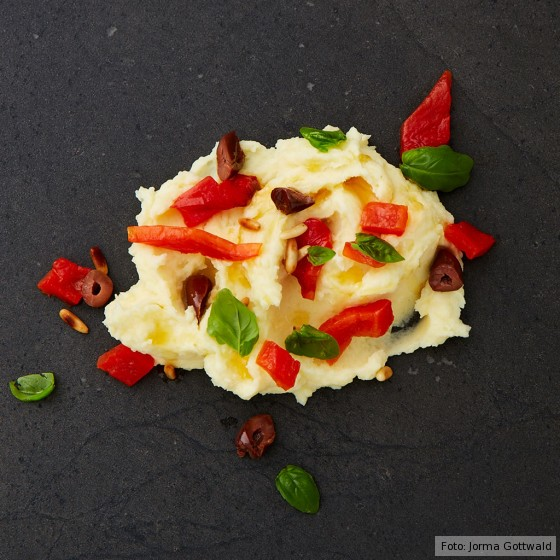 Kartoffelpüree mit gerösteter Paprika