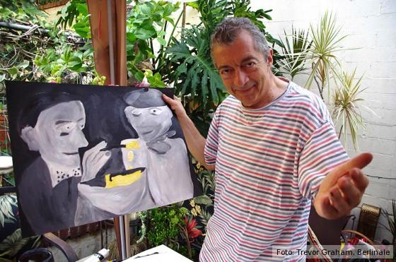 Philippe Mora vor einer Staffelei im Film Monsier Mayonnaise, Kulinarisches Kino 2017